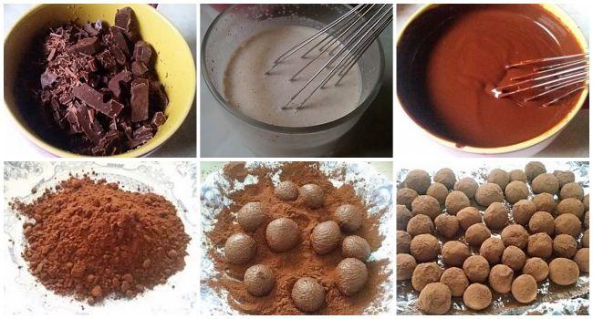 Preparación de las trufas de chocolate con especias