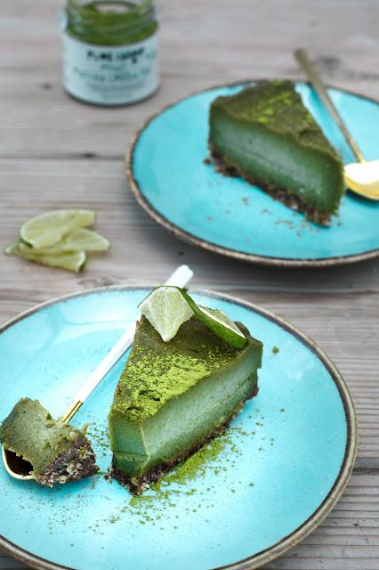 raw matcha cheesecake
