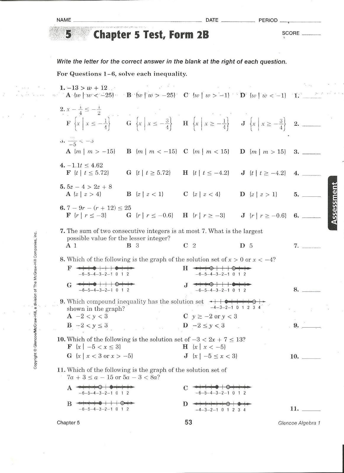 Printables Glencoe Algebra 1 Worksheet Answers algebra 2 quiz answers html home work hall glencoe 1 chapter 7 test form 2a 2