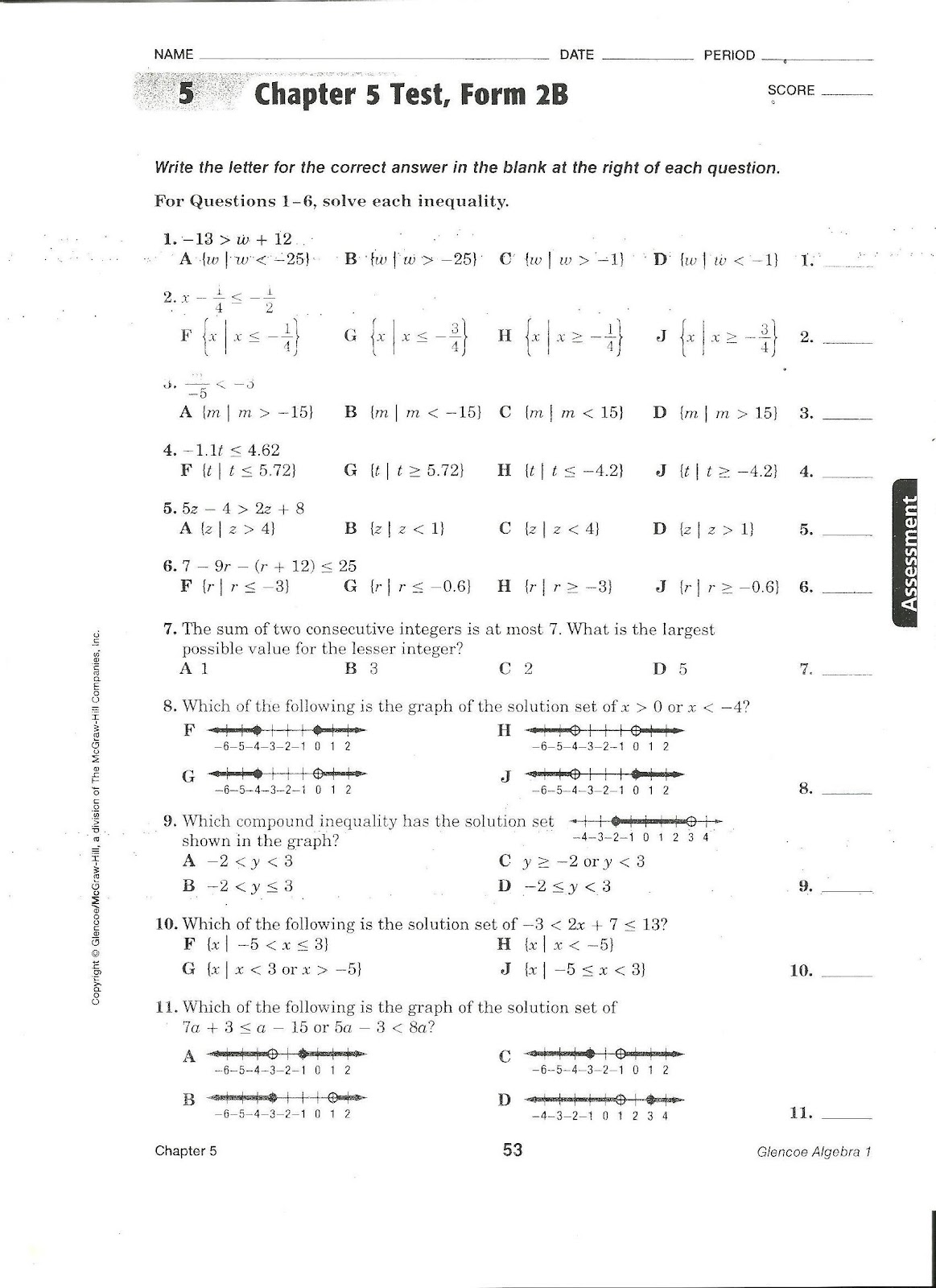 Coach Gober S Algebra Class Chapter 5 Test Form 2b Assigned January 16