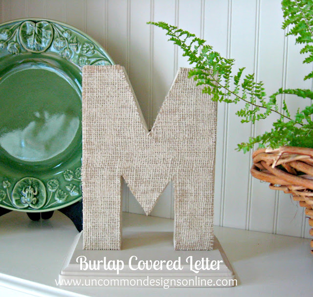 A perfect combination of burlap and a monongram! Burlap covered letters! A simple and gorgeous home accent for your home. #burlap #monograms #coveredletters