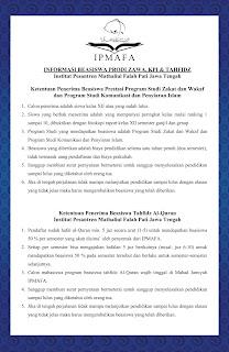 Informasi Beasiswa Zawa, KPI & Tahfidz IPMAFA Tahun 2016