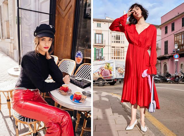 Красное платье и красные кожаные брюки