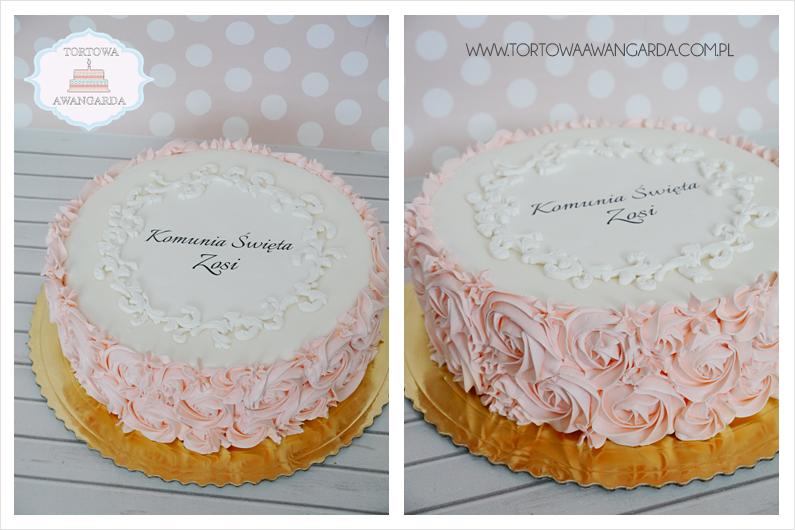 różowy kremowy tort na komunię chrzest bez masy cukrowej dla chłopca dla dziewczynki Warszawa