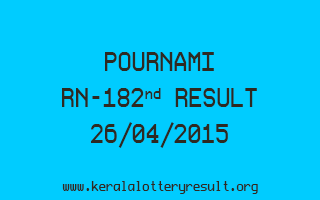 POURNAMI RN 182 Lottery Result 26-4-2015