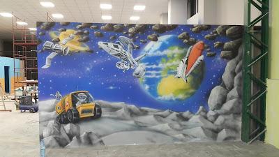 Malowanie sali zabaw dla dzieci, malowanie bawialni, aranżacja scian w bawialni, artystyczne malowanie ścian 3D, graffiti artystyczne w sali zabaw