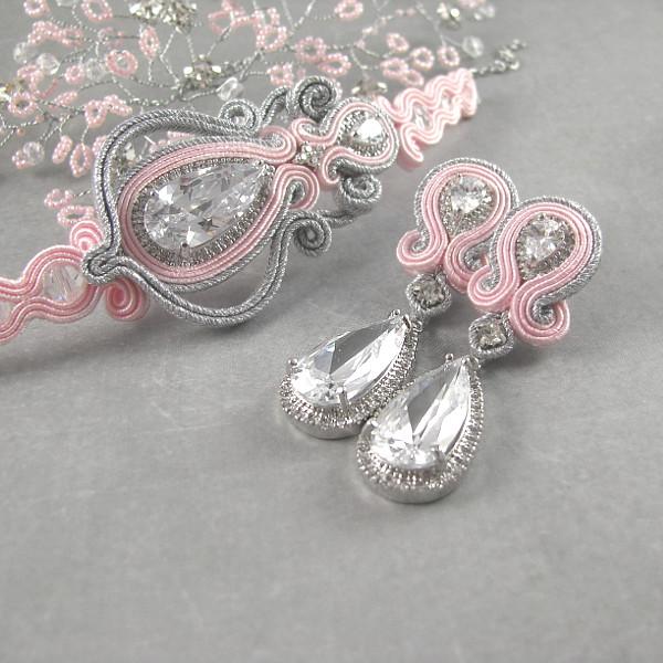 Kolczyki i bransoletka ślubna sutasz - róż i srebro.