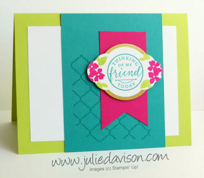 Stampin' Up! Hello Friend Card ~ June 2017 Stamp of the Month Club Card Kit ~ Lemon Lime Twist ~ 2017-2018 Annual Catalog ~ www.juliedavison.com/clubs