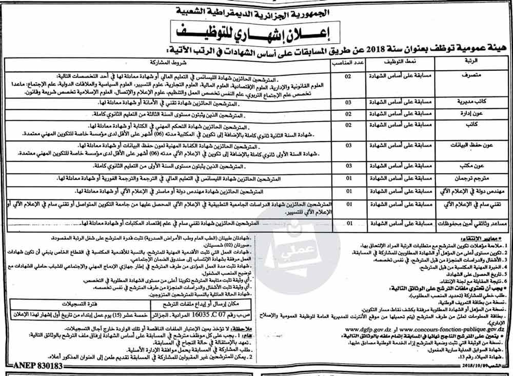 هيئة عمومية تعلن عن فتح مسابقات توظيف (20 منصب)