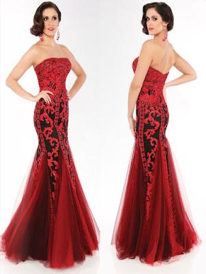 Vestido largo color rojo y negro