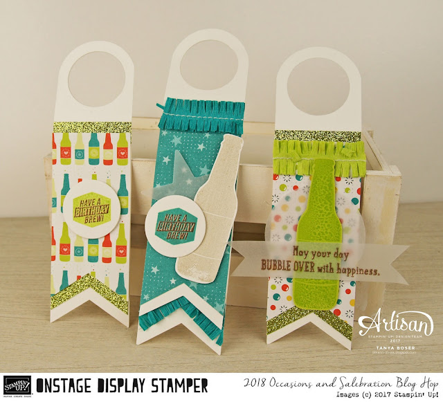 These fun soda bottle or beer bottle tags were created with Stampin' Up!'s Bubble Over stamp set, Bubbles and Fizz DSP, and many other supplies from the 2018 Occasions Mini. ~Tanya Boser as a Display Stamper