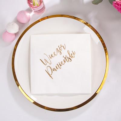 Nowość w sklepie - przepiękne serwetki na panieński ze złotym napisem