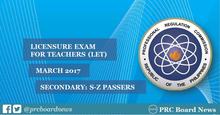 March 2017 LET board exam results: S-Z Passers Secondary