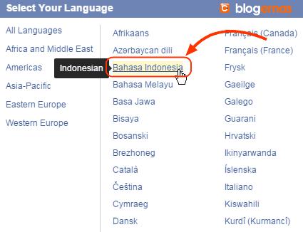 Cara Ganti Facebook Bahasa Indonesia