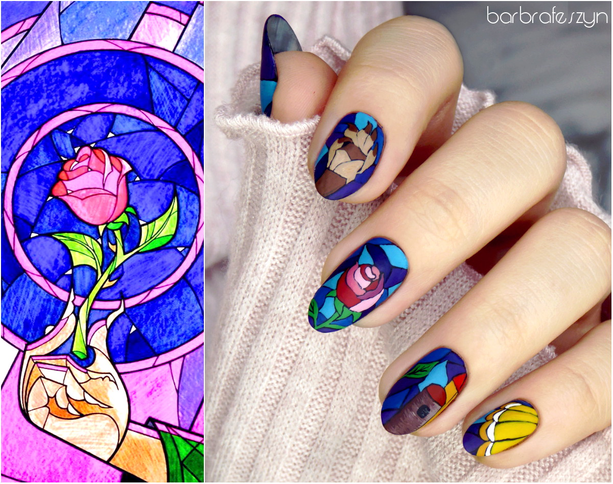 Freehand Beauty And The Beast Nails