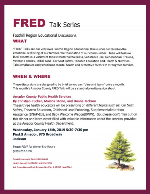 FRED Talk Series: Amador County Public Health Services - Wed Jan 16