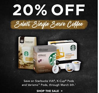 Starbucks 20% Off Select Single Serve Coffee