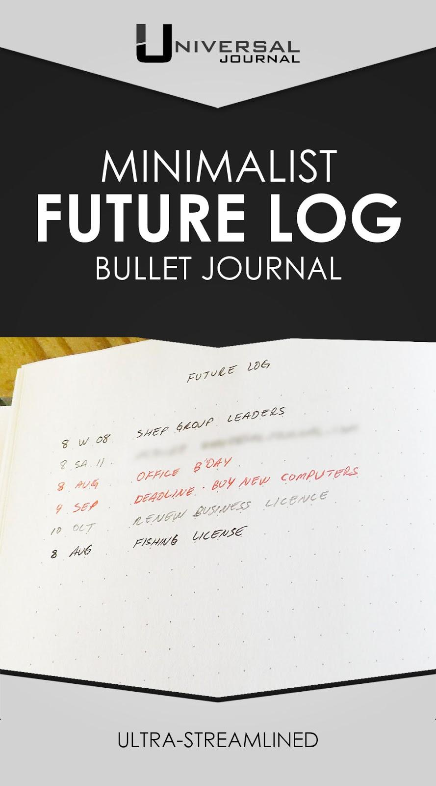 bullet journal minimalist future log
