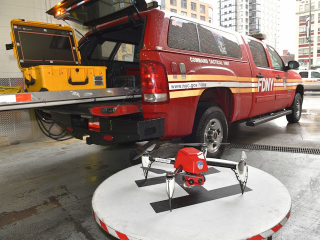 Image Attribute: An 8-pound NYFD Drone, costing $85,000 is being used at the scene and a live feed of the operation is transmitted to the command vehicle. Currently, the department has three drones at its disposal