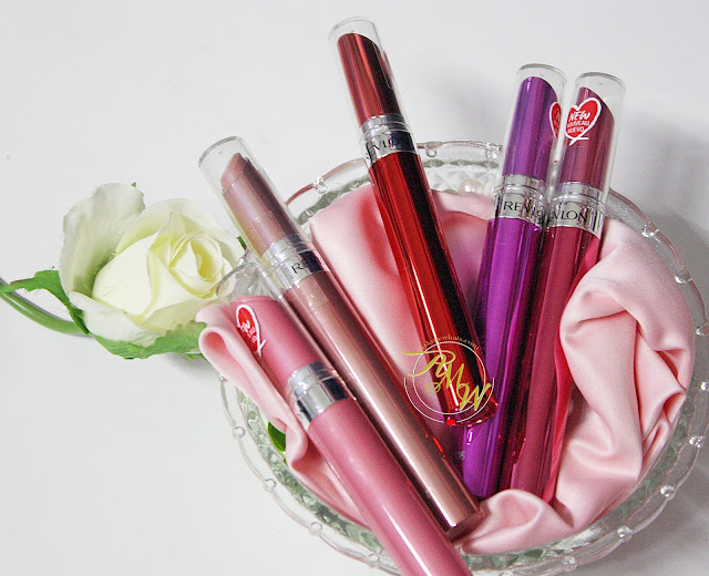 a photo of Revlon Ultra HD Gel Lip Colors L-R HD Sand, HD Pink Cloud, HD Lava, HD Vineyard and HD Blossom review