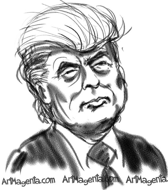 Donald Trump caricature cartoon. Portrait drawing by caricaturist Artmagenta