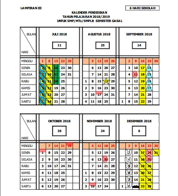 Kalender Pendidikan 2019 (Kaldik Jawa Tengah Tahun Pelajaran 2018/2019)