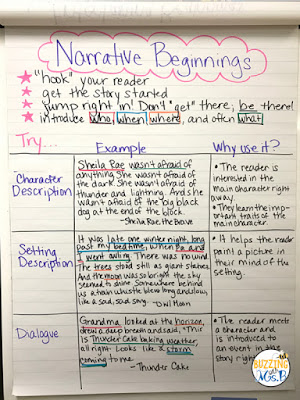 Tired of your students writing boring beginnings? Teach your upper elementary writers to write good beginnings for narrative writing. Get an anchor chart for different types of narrative beginnings, ideas for mentor texts, and activities to help your writers write interesting beginnings! #narrativewriting #narrativebeginnings