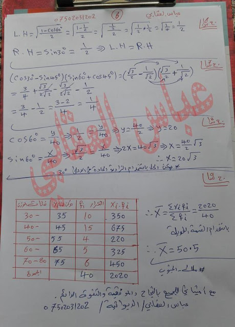 مرشحات الرياضيات للصف الثالث المتوسط