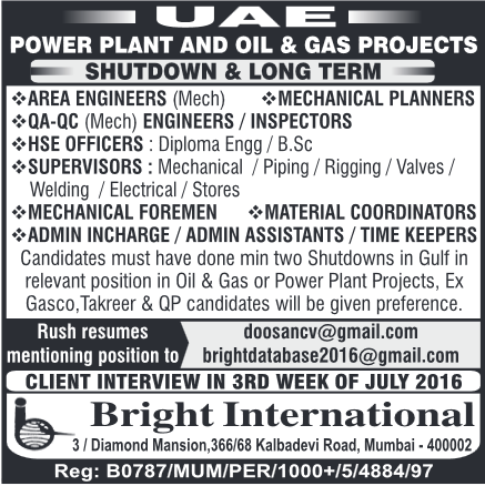 Oil and Gas projects jobs in UAE - Shutdown & Long term