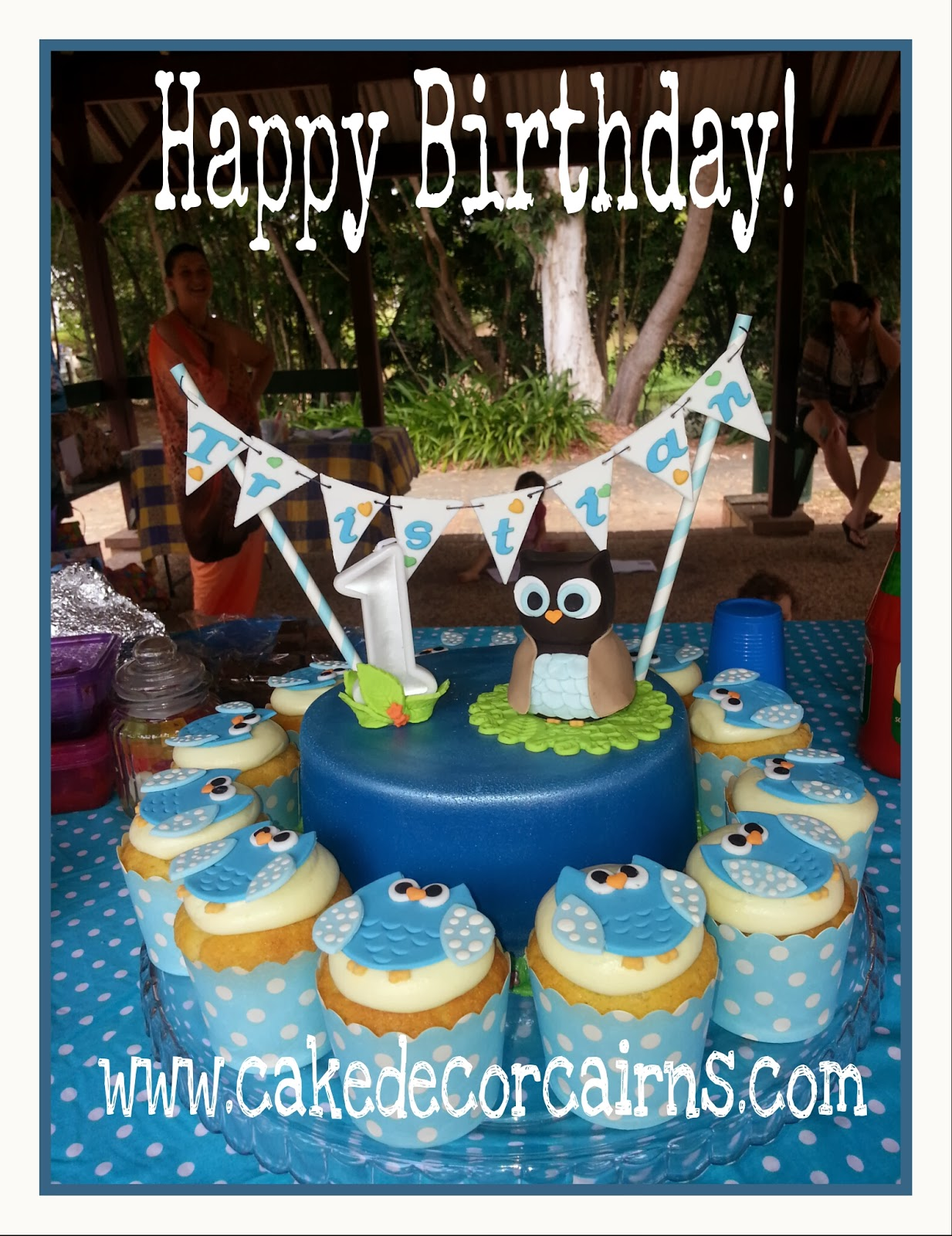 Owl Fondant Topper Edible Bunting Happy Birthday Blue and white Polka Dot Cupcakes 1st birthday Ideas