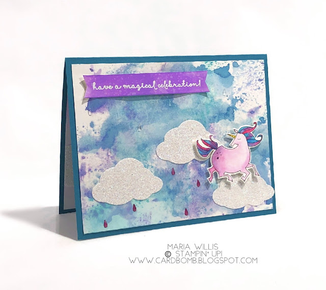 Card bomb, Maria Willis, Stampin' Up!, Unicorn, Magical Day, SAB, Occasions 2018, watercolor, technique, stamping, stamp, ink, Paper, paper craft, diy, handmade, creative, crafty, ink smooshing, color, magic, birthday
