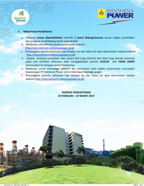 Penerimaan Pegawai PT Indonesia Power 2017