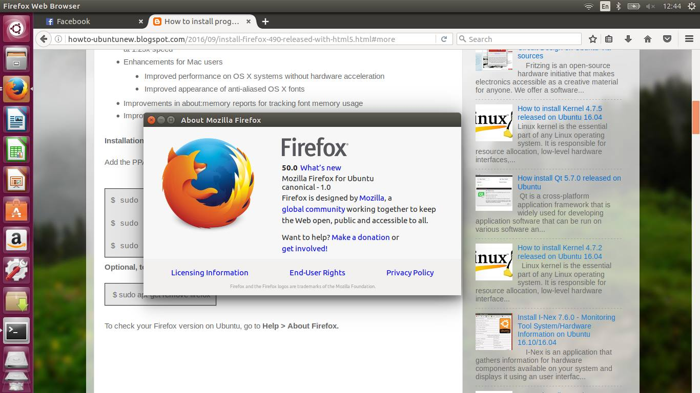 How to install program on Ubuntu: Install Firefox 50 0 Released with