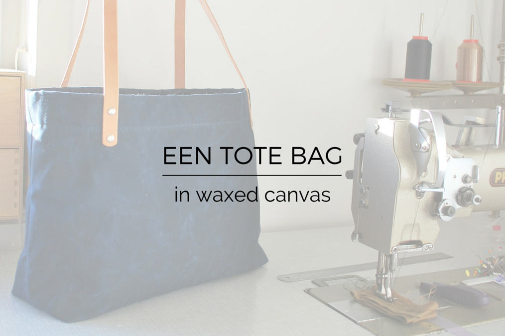 hand waxed tote bag with leather handles