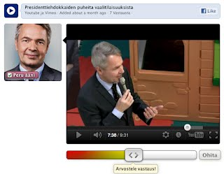 Video of Pekka Haavisto being rated during  the Finnish Presidential Elections 2012