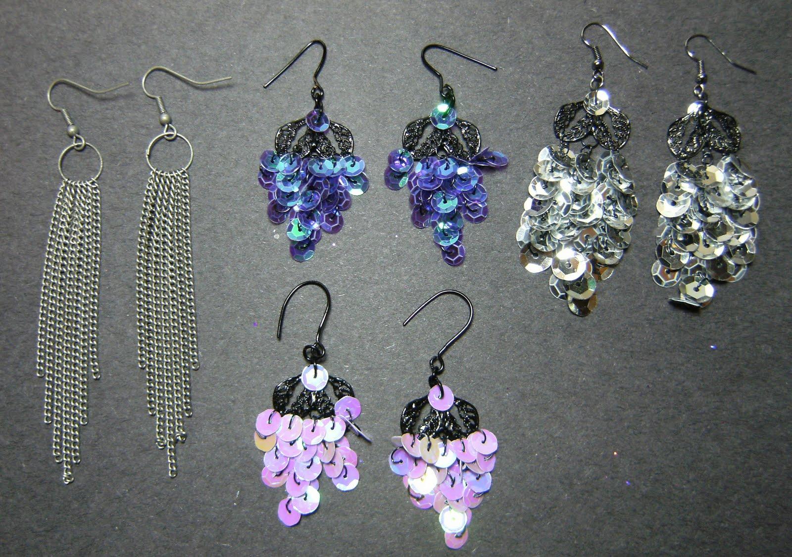 Deez-Jewelz: new sequin earrings & Painted filigree pieces