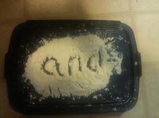 Fun sight word activities: flour writing