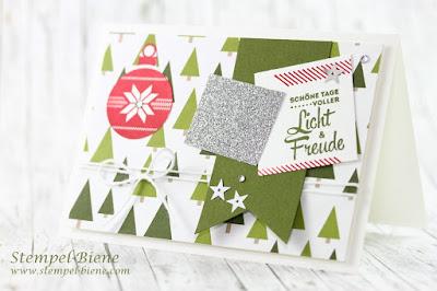 Tannenbaumkarte Stampin up, Fröhliche Stunden Stampin up, Match the Sketch; Weihnachtskarte basteln; Einfache Weihnachtskarte mit Anleitung; Stempel-Biene; Stampin up Sonderangebote