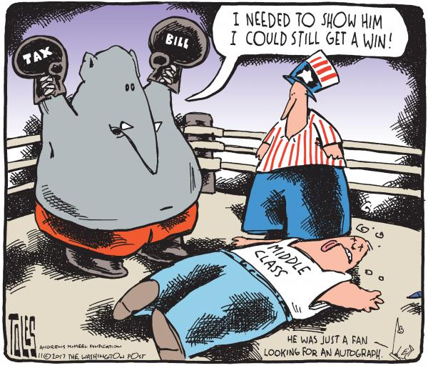 Picture of Republican elephant raising arms in triumph in the boxing ring as the middle class lies unconscious on the mat.  Elephant says,