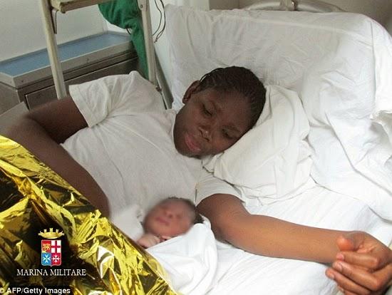 nigerian lady gives birth italian navy ship