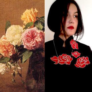 """Henri Fantin-Latour : Roses - Nini Peony : bijoux brodés """"Red"""""""