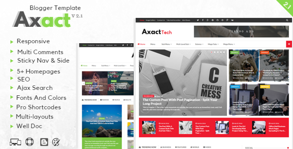 Free Download Axact V2.1 - Responsive Magazine Blogspot theme blogger