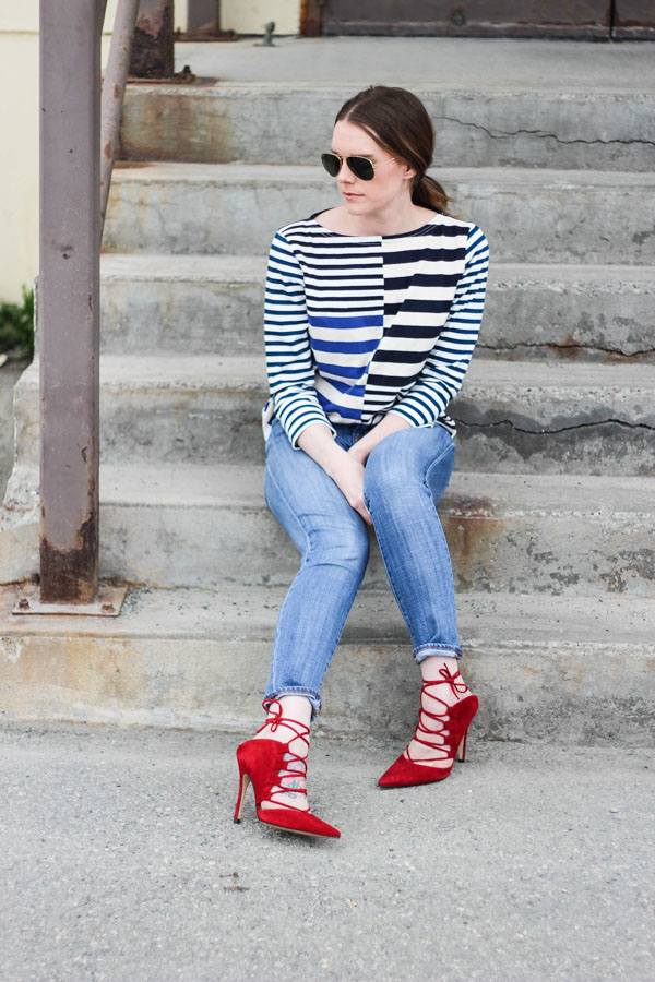 Outfit Inspo- Striped top and heels