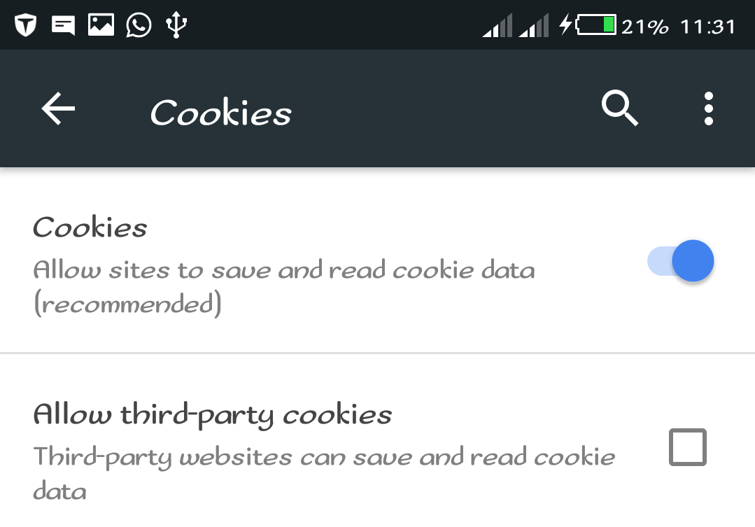 Enable Cookies Mozilla Firefox Android App