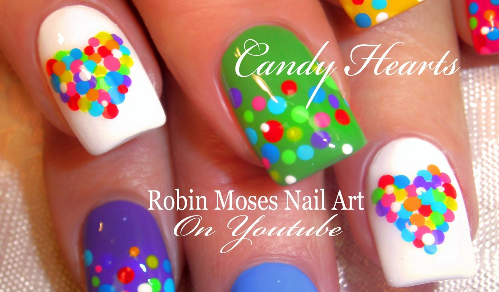 Nail Art by Robin Moses: Easy Valentine Nails! Cute Rainbow Candy ...
