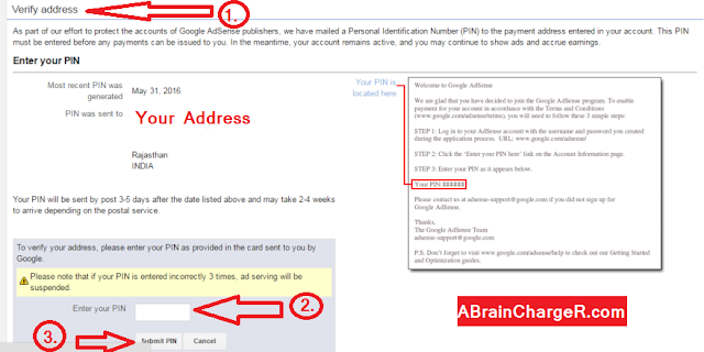 Where can I enter my Google Adsense Address PIN in hindi