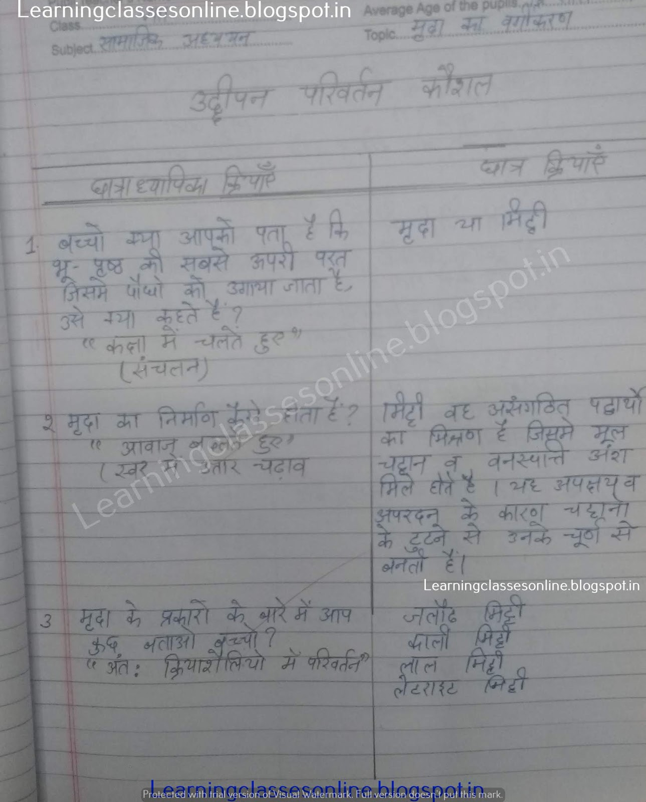 B.Ed BTC DELED social science and social studies lesson plans in hindi