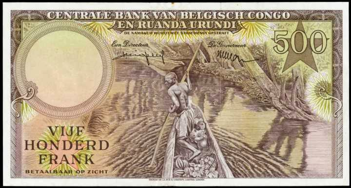 Belgian Congo paper money 500 Francs