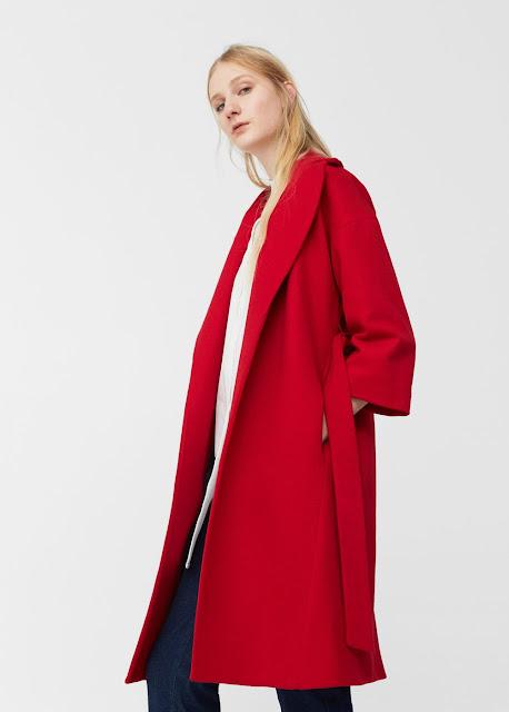 Cappotto rosso di lana con cintura - Mango Outlet