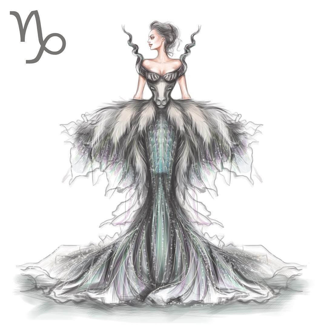 10-Capricorn-Shamekh-Bluwi-Zodiac-Haute-Couture-Exquisite-Fashion-Drawings-www-designstack-co